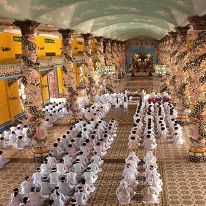 Cao Dai Temple is a highlight of Tay Ninh during our Heritage Tour Vietnam