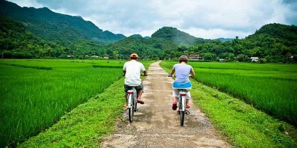 biking in mai chau village